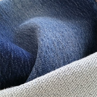 8OZ twill weaving inside knitted denim fabric with stretch and mercerized