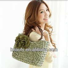 wholesale fashion sweet girls' wooden bead handle beach handbag