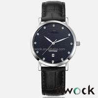 Black Leather Band Stainless Steel Quartz Seiko Watches Wholesale
