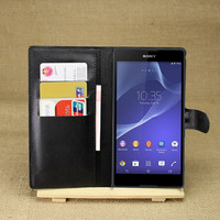 PU Leather flip wallet case cover for Sony Xperia T2 Ultra XM50h