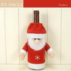 Adorable red white felt christmas santa liquor beer bottle cover