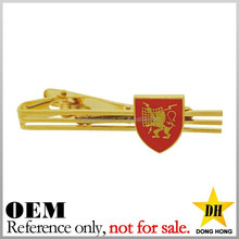 shield shape logo fashion men custom decorative metal clip on tie