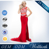 Wholesale 2015 New arrival red Evening Dress beaded design dress without Sleeves