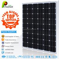 Powerwell Solar 240w Mono With CE/IEC/TUV/ISO Approval Standard Popular Supplier 240W PV mono Solar Panel black 156mm*156mm