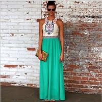 LD06 OEM Professional 2015 Lady Sleeveless Chiffon Bohemian Embroidery Dress Fashion Lady Wholesale Clothing