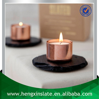 Factory DIrect Luxury Handmade Oiled Dia10cm Natural Edge Black Round Natural Stone Candle Holder Slate Tea Light Holder