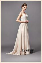 Líneas simples de diseño gran estilo espaguetis encantador y generoso de las correas de color rosa desnuda una línea de vestidos