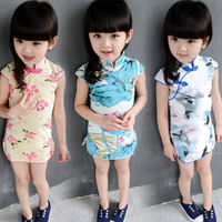 MS70332B Beautiful printed Chinese kids traditional dresses lovely girls qipao