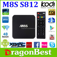 quad core m8s s812 best selling tv box android hd sex pron vedio tv box smart real tv box M8S with fly air mouse