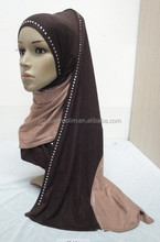 JL045a cotton jersey black with colors combine mulim scarf,muslim hijab