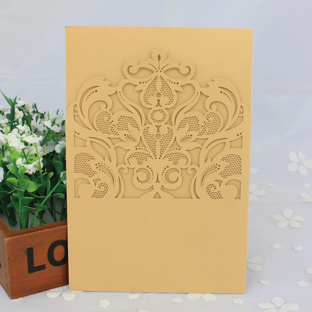 Personalizado 3D Novo Estilo Luxuoso Casamento de Corte A Laser Cartões de Convite de Casamento de Noivado 2017