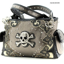 CONCEALED CARRY WESTERN SKULL STUDDED RHINESTONE HANDBAGS AND PURSES FOR WOMEN