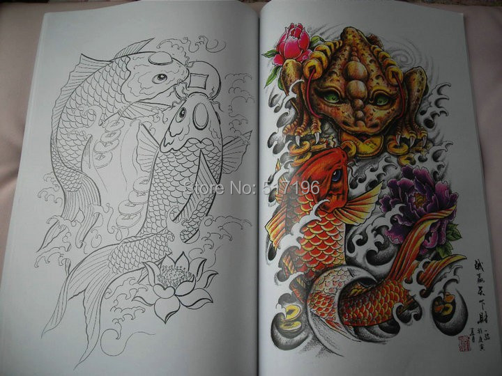 wholesale new japanese style tattoo flash sketch book a4 monster kirin lion koi dragon fish. Black Bedroom Furniture Sets. Home Design Ideas