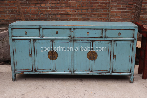 14062607 peint console en bleu chinois de style armoires for Meuble chinois bleu