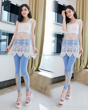 2014 New Summer Women's Loose Sleeveless Hollow Out Flower Lace Chiffon Top For Female Free Shipping PW-PLM-502