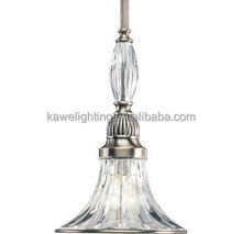 """Classic Silver 1 Light 7"""" Wide Mini Pendant with Clear Ribbed Glass"""