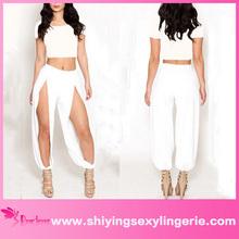 mayor sexy de color blanco puro de corte longitudinal de la mujer de las piernas de punto de algodón pantalones conjuntos