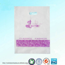 Promotional cheap logo printed die cut handle plastic shopping bags/foldable shopping bags/designer shopping plastic bags