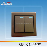 Luxury Brushed 2gang 2 way wall switch antique bronze color