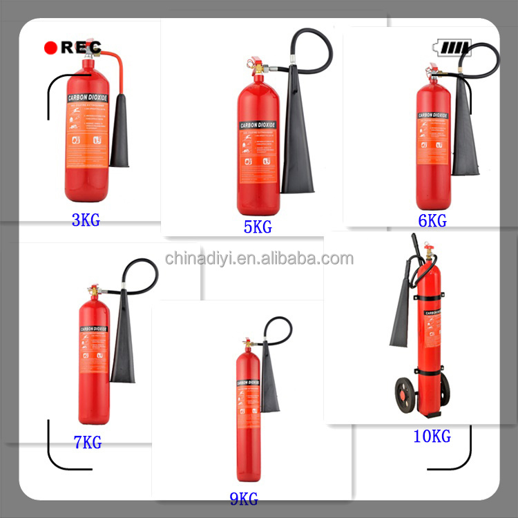 Portable co2 fire extinguisher red cylinder with iso ce en3 approve view co2 fire