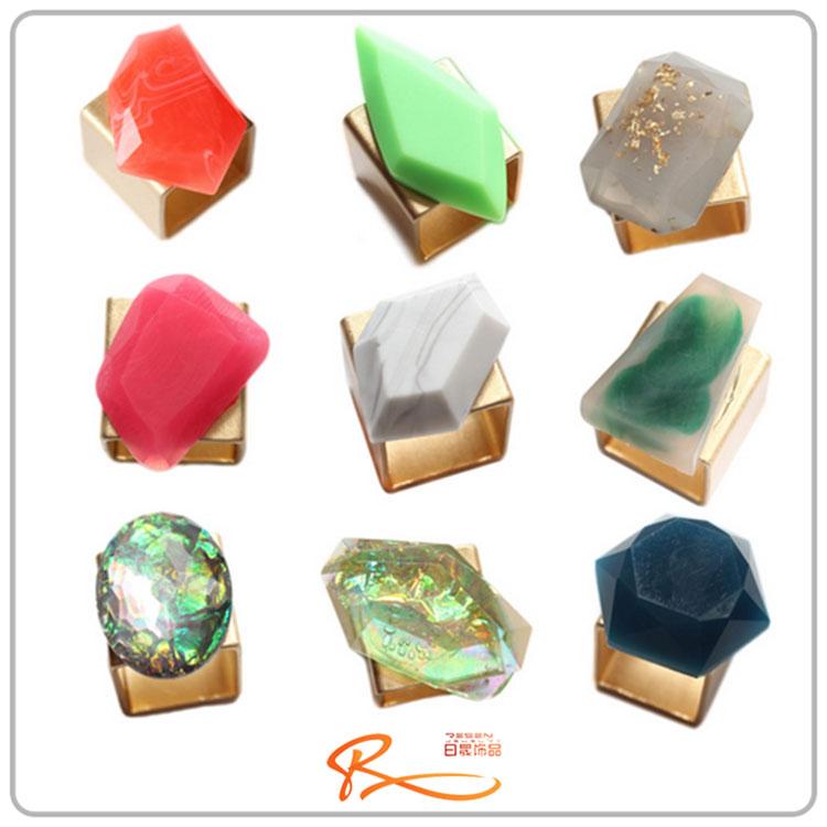 2015 newest worn gold gemstone rings jewelry