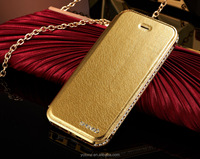 China mobile phone accessories diamond metal pu leather phone case for iphone 4 4s