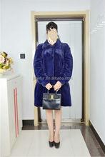 Janefur Factory New Style Royal Blue Colour Mink Fur Coat/Wholesale Fur Garments