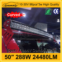 "288W 24480LM 50"" curved offroad led light bar"