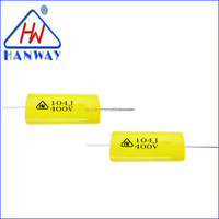 Manufacture Wholesale Axial Round 0.1uf 104J 400V Capacitors For Impulse Circuit For Filter From Shenzhen