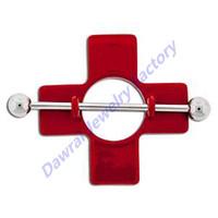 DAR Red Nurse First Aid Cross Nipple Shield Piercing Jewelry
