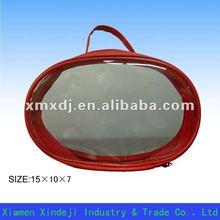 Portable PVC wristlet bag with zipper