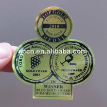 Vino personalizado etiqueta etiquetas/auto-adhesivo etiqueta engomada etiqueta para botella de vino