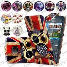 Fashion Patterns Printed Magnetic Top Flip PU Leather Case Card Holder Wallet Phone Cover Skin For Nokia C3