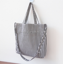 Classic Color Stripe Pattern Canvas Cotton Recycled Shopping Bag