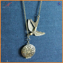NC1184 NEW! Antique gold chain essential oil essential oil diffuser necklace aromatherapy locket bird