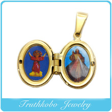 TKB-P0193 18K IP Gold Stainless Steel Enamel Oval Lady of Mt.Carmel Mary Christ Necklace Charm Two Side Epoxy Pendant