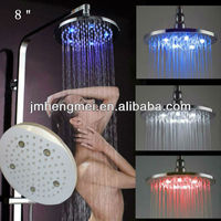 high quality led over head shower color change bath top shower