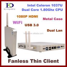 Mini desktop computer dual lan thin client 2GB RAM,64GB SSD ,1.8Ghz,USB 3.0+USB2.0,HDMI ,Metal,SD/TF Card slot