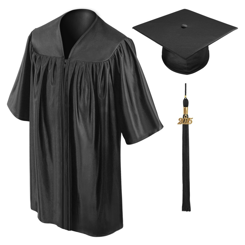 black shiny children graduation cap and gown