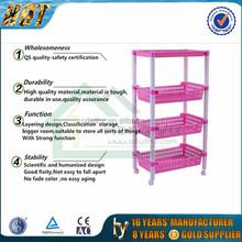 Useful Household plastic 4 layers storage shelf/plastic storage holder shelves with wheels