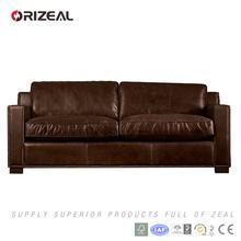 Orizeal European Style Wooden Leather Sofa, Leisure Leather Sofa