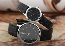 Men's & Women's Silver Dial Black Genuine Leather Set of 2 watches