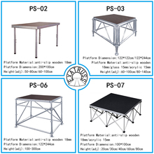 high quality Aluminum portable stage with adjustable height and mobile folding platform with anti-slip surface and Layer stage