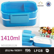 Transparent Bento Lunch Box BPA Free with Two-Locks, leak Proof with Food Grade PP 1410ml from China