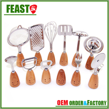 stainless steel head with wooden handle kitchen accessory