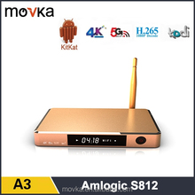 Newest Factory Price!!! Quad Core TV BOX Movka Amlogic S812 A3 Quad Core Android Smart TV BOX With Kodi Full Loaded