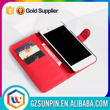 card slot genuine pu leather flip back cover case for iphone 6plus