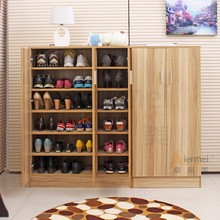 simple shoe storage cabinet multi assemble timber solid wood shoe cabinet