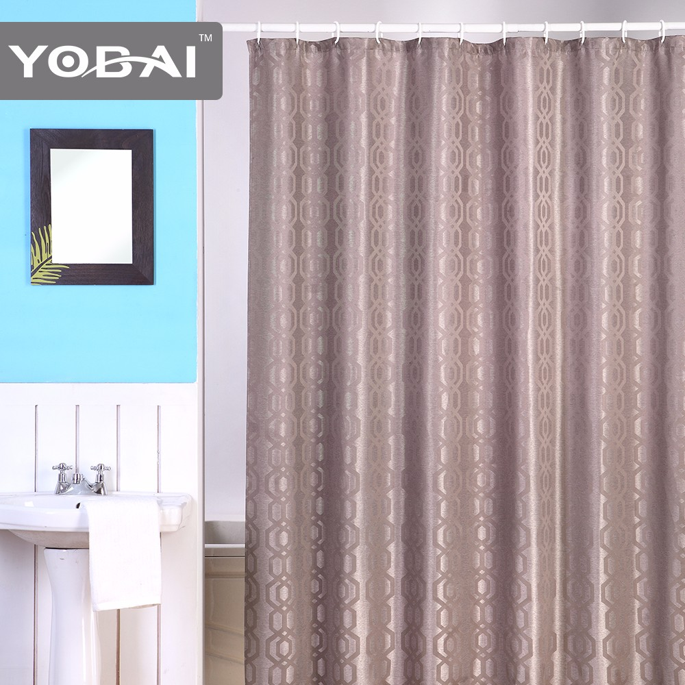 ... Luxury Hotel Use Polyester Jacquard Folding Thick Floral Shower Curtains