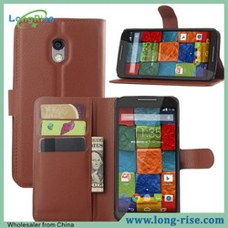 Factory Price Wallet Style Flip Leather Cover for Moto X 3rd Gen Case